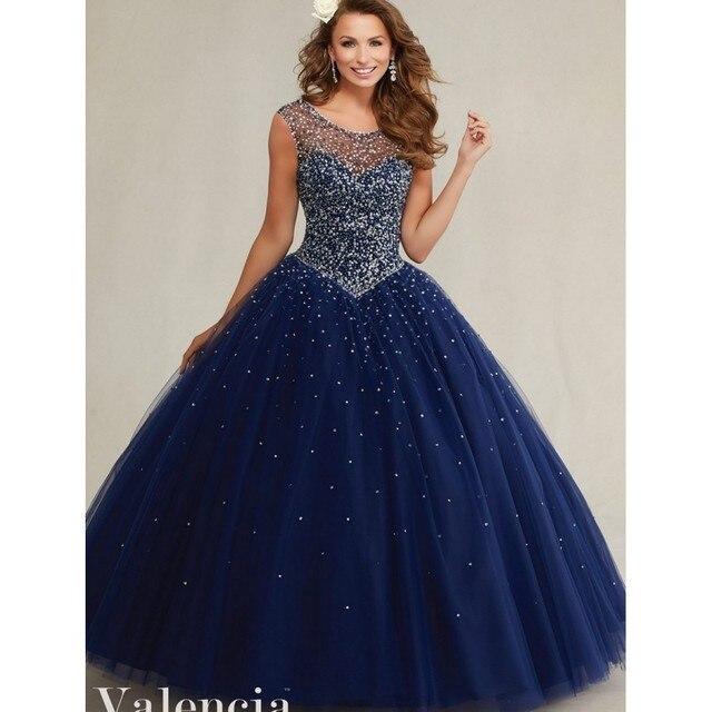 Bonito da meia noite azul sem costas Vestido Quinceanera 2016 Beading lantejoula mangas meninas Debutante Vestido Vestido de 15 nos