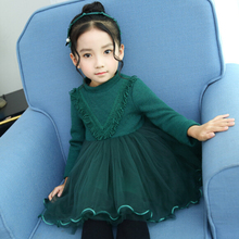 6721M  Dress Cotton Birthday Casual Solid Baby Girl Clothes Draped Princes Ball Gown free shipping  Full Sleeve Baby Dress