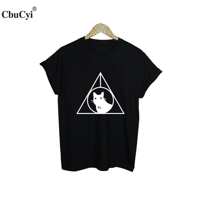 Death Hallows Black Cat T-Shirt Funny Harajuku Printed Tee Shirt Femme Tumblr Meow T Shirt Hipster Women Tshirt Clothes
