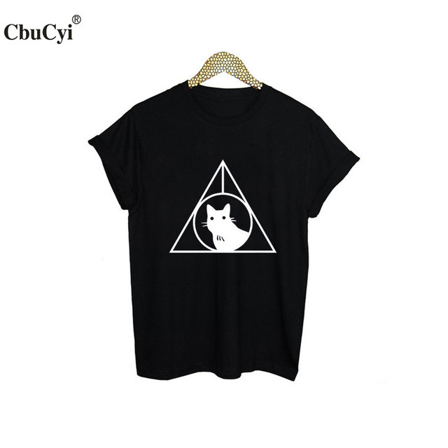 b32e51bf Death Hallows Black Cat T-Shirt Funny Harajuku Printed Tee Shirt Femme  Tumblr Meow T Shirt Hipster Women Tshirt Clothes