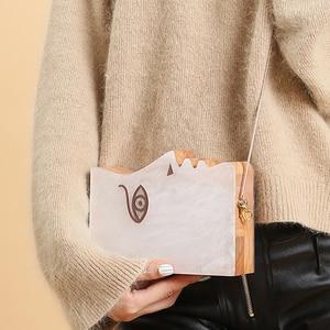 Image 3 - 2020 Wood Personality Splicing White Acrylic Retro Unique Half Face Hard Box Evening Bag Ridesmaid Handbag Luxury Clutch Purses