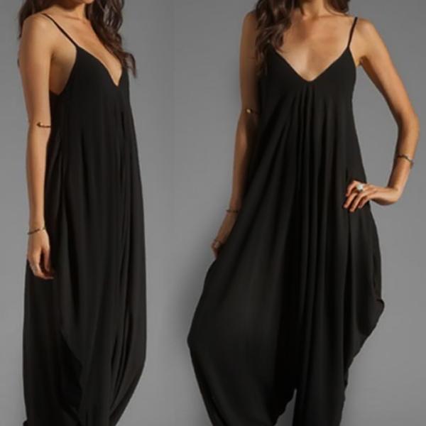 Plus Size rompers womens jumpsuit Sleeveless Deep Spaghetti Strap V Neck Beach coveralls Harem Romper Playsuit 2016 Summer