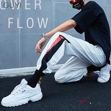 GUYI White Side Stripe Patchwork Panelled Sport Pants Men Male Length Rib Ankle Waist Trousers Casual Streetwear Hip Hop Joggers