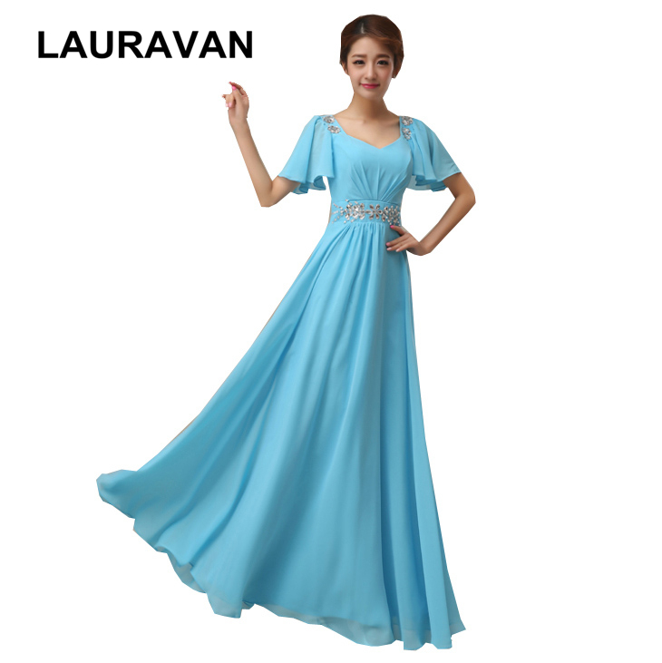 Light sky blue chiffon   bridesmaid     dresses   special occasions v neck cap sleeved long bride maid high fashion   dress   2019 gown