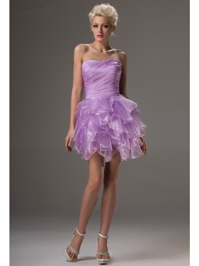 Lilac 2019 Elegant Cocktail Dresses A-line Sweetheart Short Mini Organza Sexy Plus Size Party Homecoming Dresses