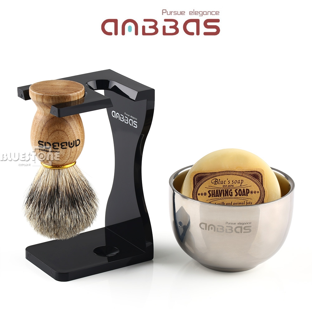 Anbbas Barber Shaving Brush Badger Hair+Black Acrylic Stand+bowl+Soap Set 1