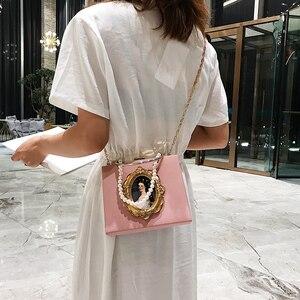 Image 4 - ヴィンテージ油絵バッジファッションpu女性パーティートートバッグクロスボディバッグ女性のためのポーチハンドバッグトート財布