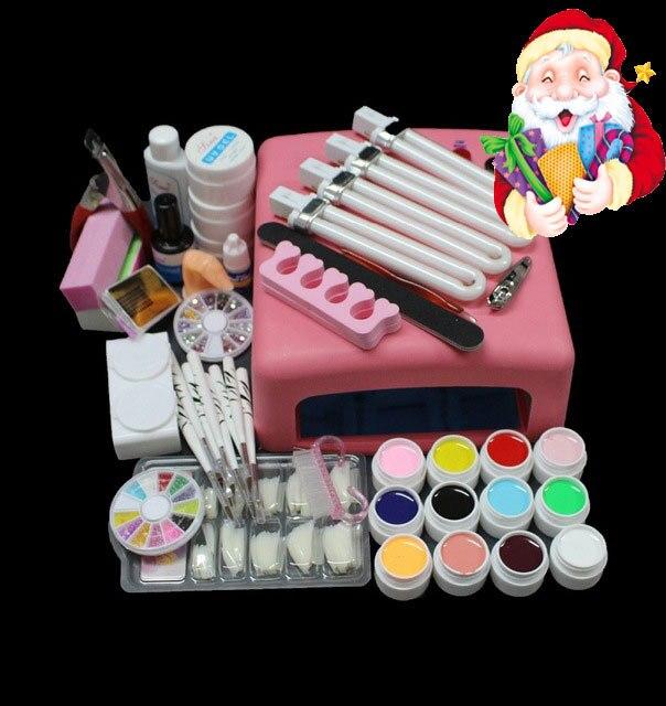 BTT-93 Hot Sale Pro 36W UV GEL Pink Lamp & 12 Color UV Gel Nail Art Tool Kits Sets