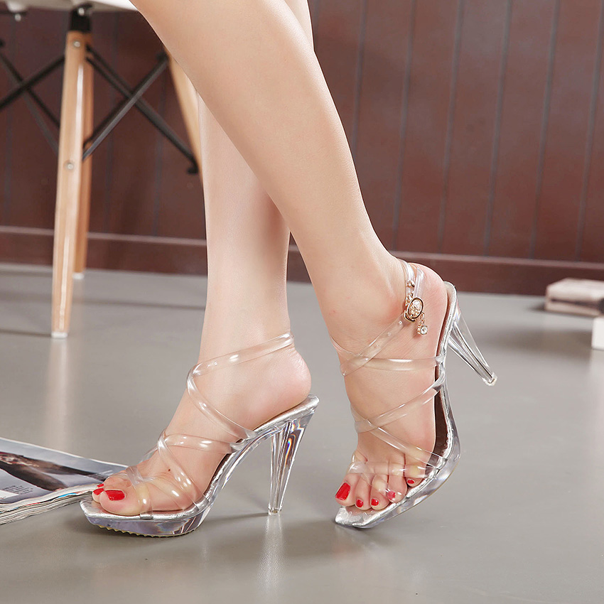 2017 Korea Style Ladies heels sandals Crystal sandals