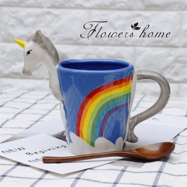 Tasse Fantaisie main peint 3d licorne tasses mignon de bande dessinée en céramique