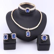 Женский комплект из колье и серёг с кристаллами