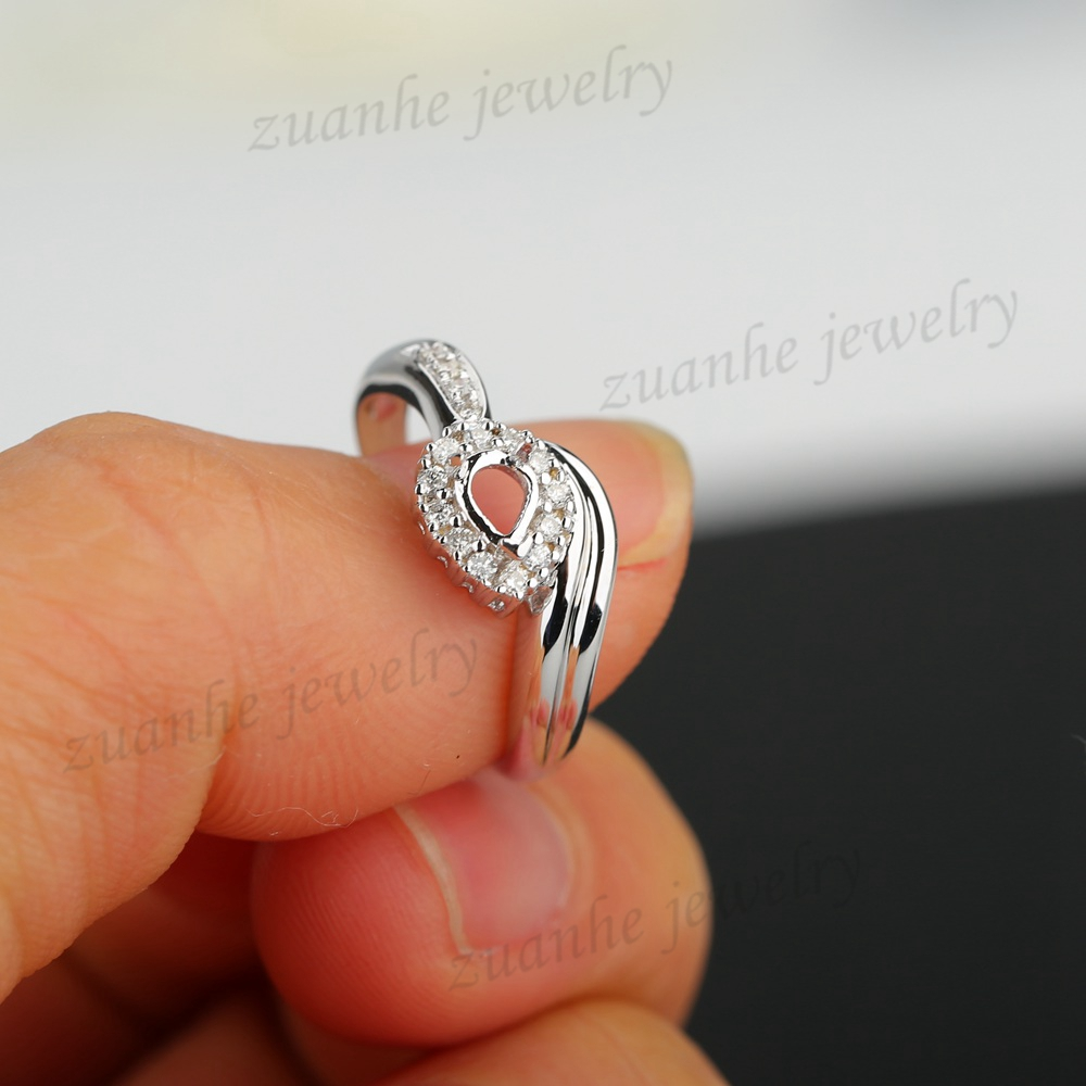 3x4mm Pear Cut Natural Diamonds Solid 18k White Gold Elegant Women Engagement Wedding Ring Semi Mount Ring Setting