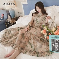 AKEKA Elegant Style 2 Pieces 1 Set Flower Print Chiffon Dress 2018 Fashion New Woman Elastic