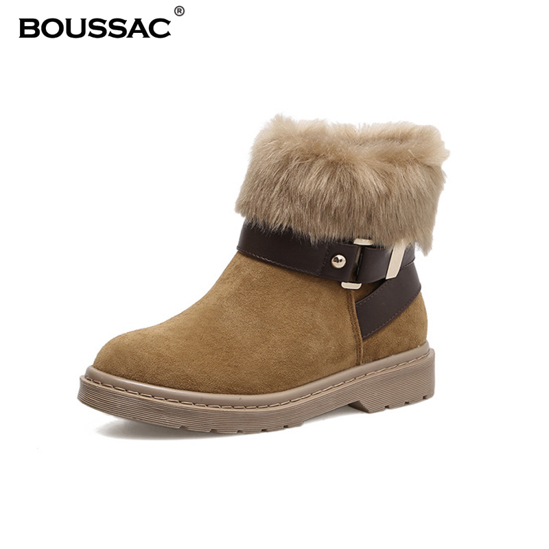 02a6d5cc13c Boussac Faux Fur Snow Boots Women Round Toe Flat Warm Winter Boots Ankle Boots  Women Shoes SWE0118-in Ankle Boots from Shoes on Aliexpress.com