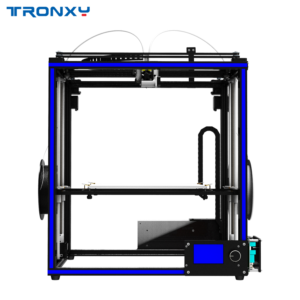 2018 Newest Tronxy DIY 3D Printer X5S-2E Mixed color Double Feeding port 3d printer machine metal with hotbed free shipping diy nail art printer machine with 5 metal design templates retail sales free drop shipping