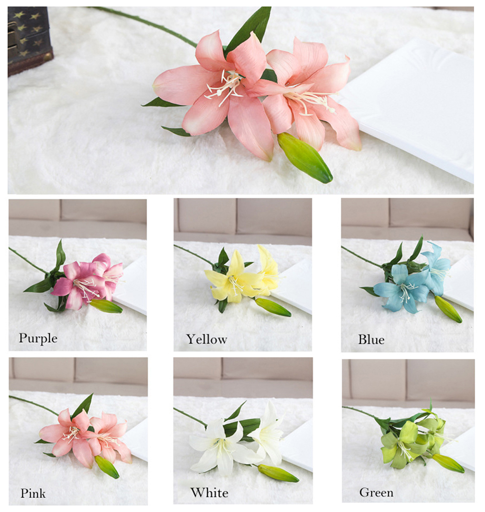 6pcslot artificial lily calla lilies flowers silk cloth lily 6pcslot artificial lily calla lilies flowers silk cloth lily flowers 3 heads simulation flowers supplies wholesale home decor in artificial dried flowers izmirmasajfo