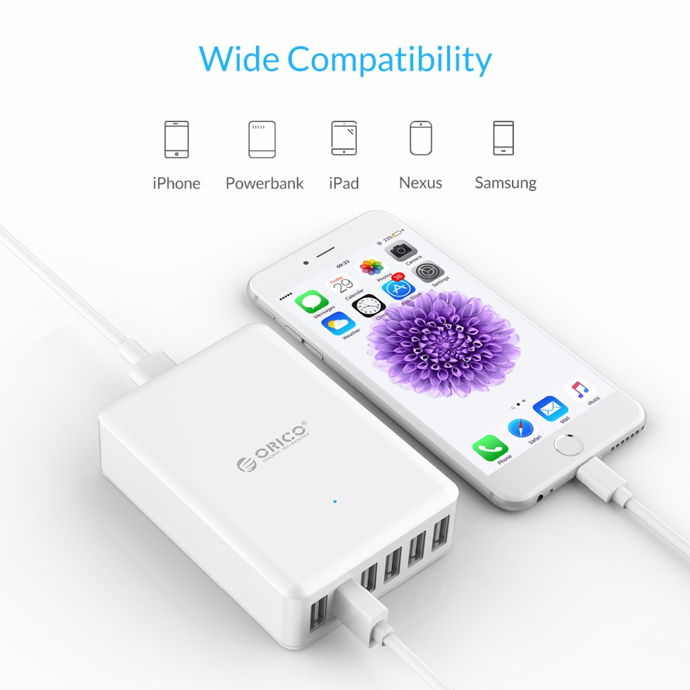 Image 5 - ORICO Universal USB Charger 6 Ports Smart Charger 5V2.4A Max Output 50W Mobile Phone Desktop Charger for iPhone Samsung Xiaomi-in Mobile Phone Chargers from Cellphones & Telecommunications