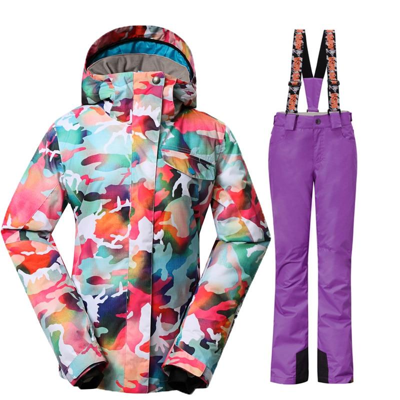GSOU SNOW חליפת סקי נשים סנובורד חליפות - בגדי ספורט ואביזרים