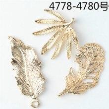 Alta qualidade 50 pçs cor de ouro liga zinco grande folha encantos pingentes pena para diy artesanal jóias fazendo