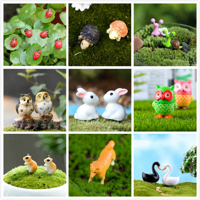 1/2/10pcs Ladybug Animals Miniatures Figurines Mini Craft Figurine Plant Pot Garden Ornament Miniature Fairy Garden Decor DIY