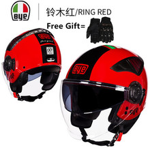 BYE brands open face helmet motorcycle 2018 double visors Racing Design Rogue helmets DOT Approved red color