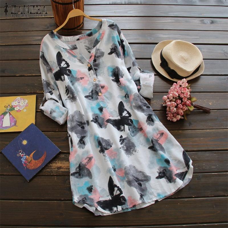 ZANZEA 2018 Women Summer O Neck Long Sleeve Long Shirt Vintage Floral Print Mini Dress Casual Loose Cotton Vestido Plus Size