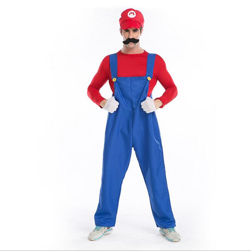 adogirl halloween costumes for men women super mario luigi brothers plumber costume jumpsuit fashion 5 pieces - 5 Girl Halloween Costumes
