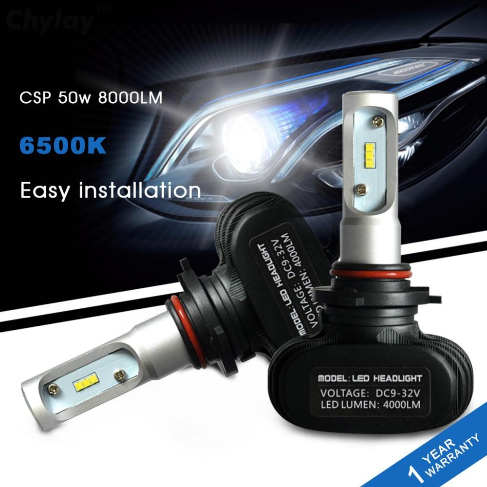 2 stk 9005 billygtepærer HB3 Auto Led-lampe 50W 6500K hvidt lys - Billygter