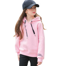 Купить с кэшбэком Teenage Girls Hoodies Sweatshirts Children Letter Casual Long Sleeve Cotton Hoodie Girl Cotton Pullover Kids Clothes 6 12 15 T