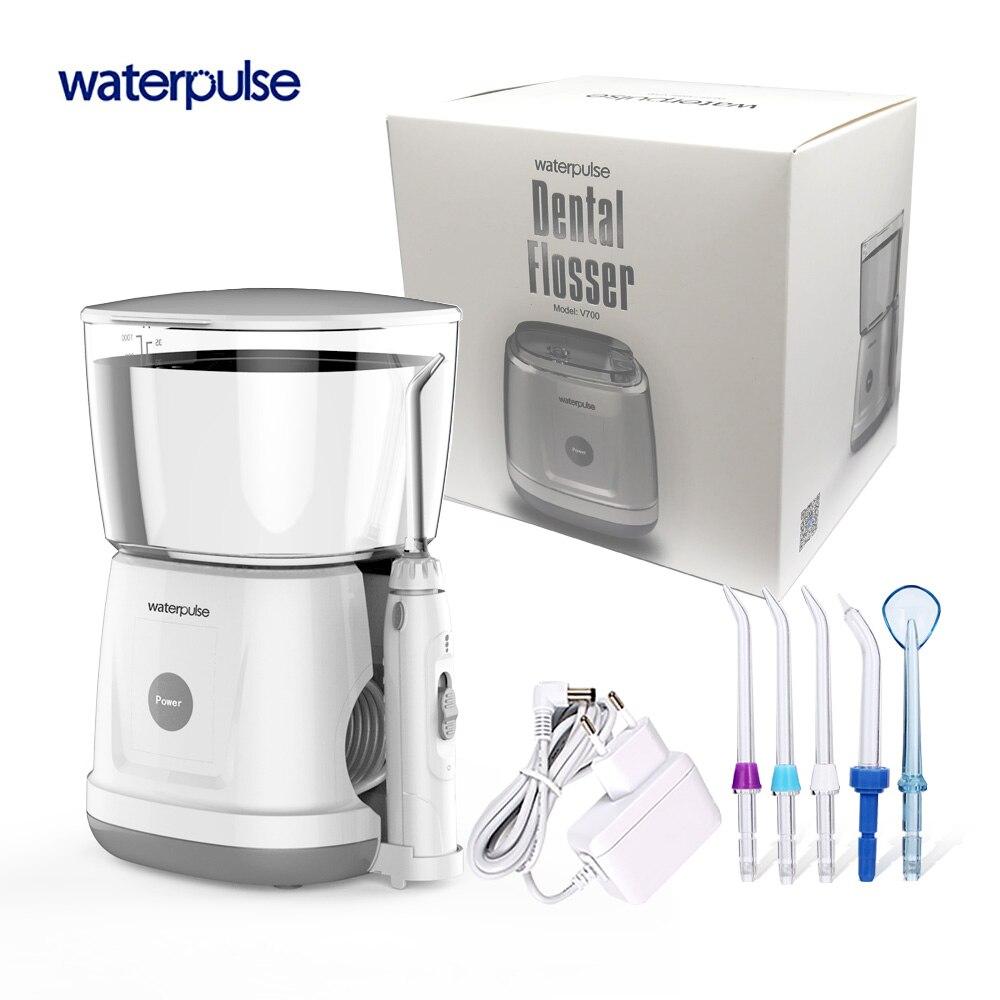 Waterpulse V700 Portable Eau Flosser Oral Orrigator Dentaire Eau Flosser Hygiène Bucco-dentaire Oral Irrigation D'eau 1000 ml 5 pcs Conseils