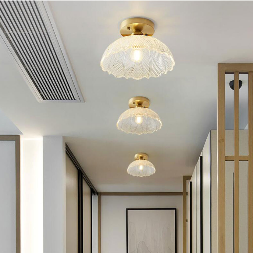 Nordic Glass Ceiling Lamp Retro Loft Vintage Ceiling Light Russia Dining Room Modern Corridor Copper E27 Ceiling Glass Lampshade