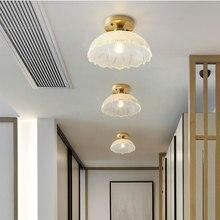 Скандинавское стекло потолочный светильник Ретро Лофт винтажный потолочный светильник Россия столовая современный коридор медь E27 потолочный стеклянный абажур