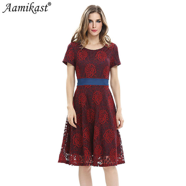 Aamikast Summer O-neck Short Sleeve Elegant Vintage Lace Dresses Bandage Fit  And Flare Patchwork 58a2dad805ce