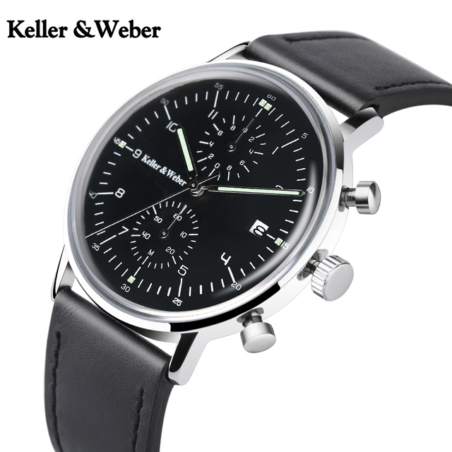 c298f6945ad4 Keller & Weber Chronograph Men's Watch Top Luxury Gift Fashion Quartz Clock  Male Genuine Leather Ultra