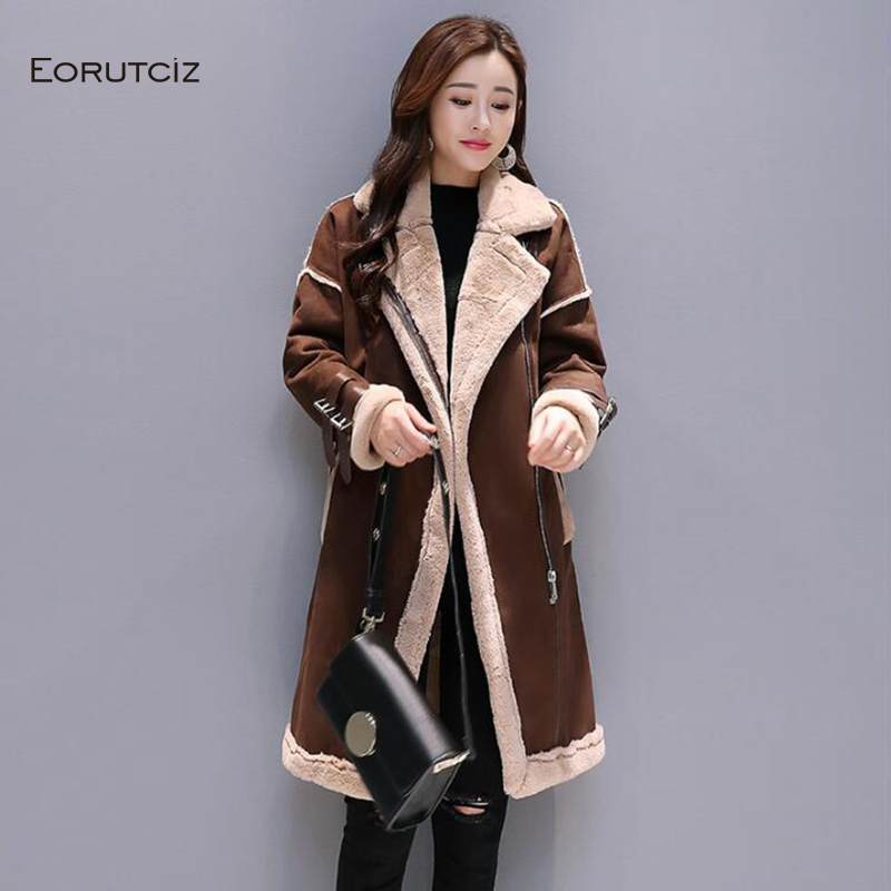 Winter Long Suede Jacket Women Velvet Warm   Parka   Thick Oversize Coat Fleece Streetwear Vintage Autumn Outerwear LM064