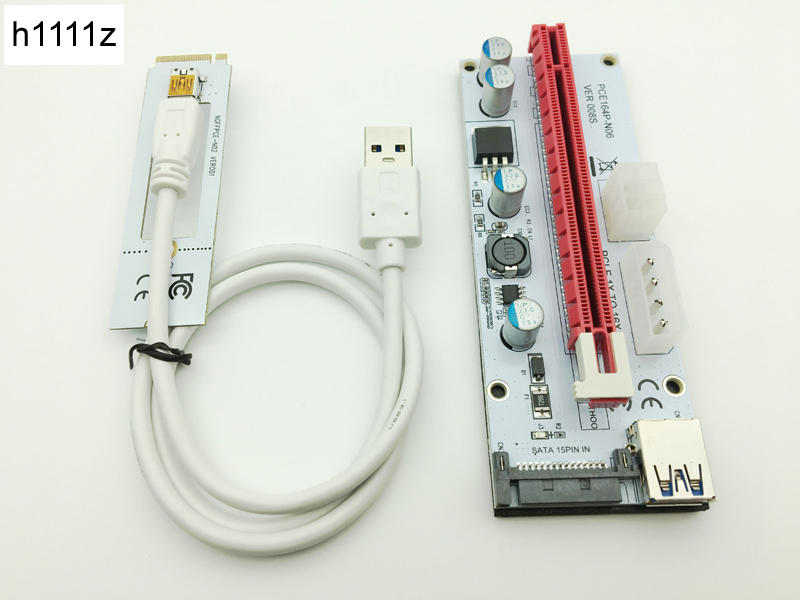 Riser White 008 s NGFF m2 PCIE PCI-E 1X 2X 4X 8X 16X USB 3,0 tarjeta adaptador 60 cm Cable de datos para BTC minero min