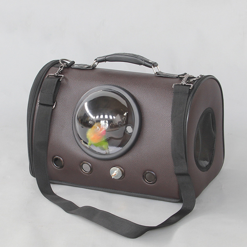 Extérieur en cuir oiseau épaule sacs Portable perroquet porter Cage avec bâtons et tasses Pet respirant espace Capsule sac à main CW082