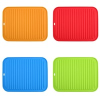 4 Colors Kitchen Durable Rectangle Oversized Silicone Dish Drying Mat Pad Tool Premium Heat Resistant Antibacterial