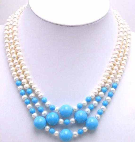 Luxuriant! 3 Strands white freshwater Pearl neckalce with Big Blue Stone-5244