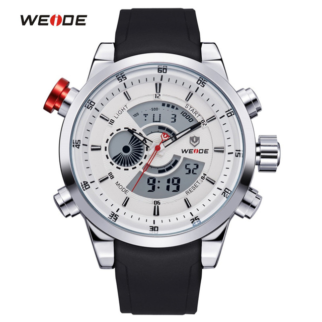 WEIDE Men Sports Watches Top Quality Digital Quartz Multifunctional Waterproof Military Watch PU Band Mens Dress Wristwatches
