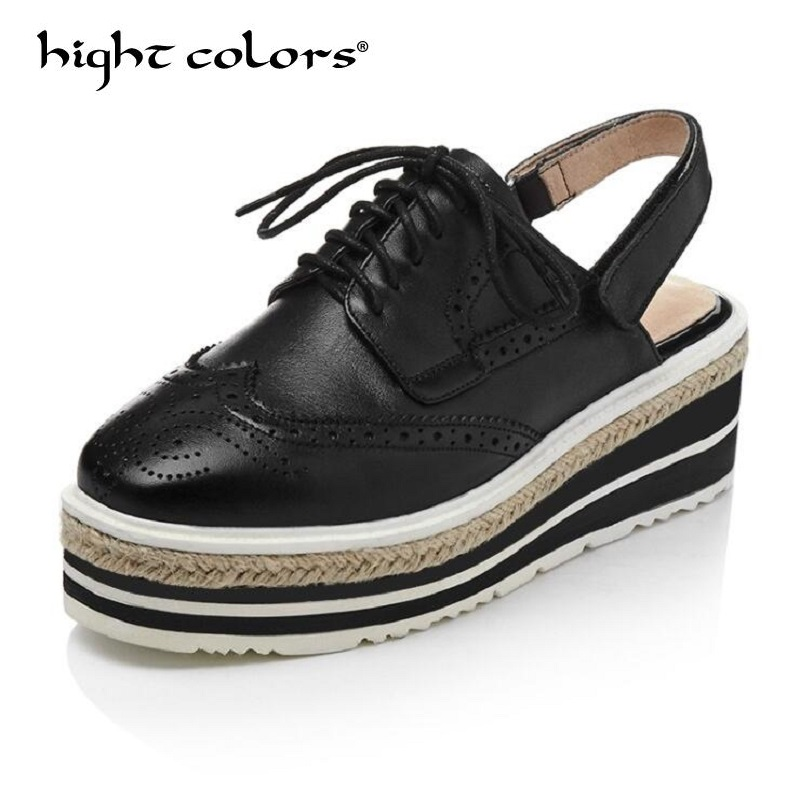 цены 2018 Fashion high heels women brand pumps wedges genuine leather square toe cross-tied platform increased straw Rome shoes