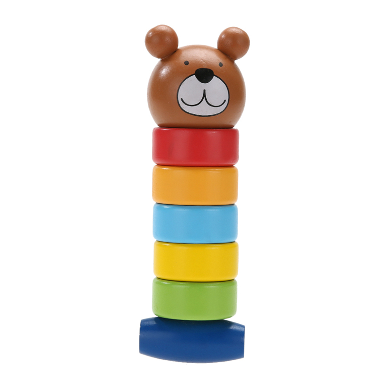 Primary Baby Wooden Educational Cartoon Stacking Block font b Toy b font Rainbow Tower Children Gift