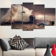 5 Piece Canvas Dog Painting Decoration Maison Nordic Poster Animal Print Paintings For Living Room Wall Tableau Mural Art
