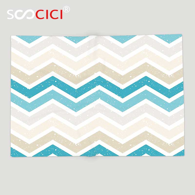 Custom Soft Fleece Throw Blanket Aqua Grunge Abstract Zig Zag Borders Chevron Geometrical Details Beige Cocoa Pink Turquoise karen cvitkovich leading across new borders
