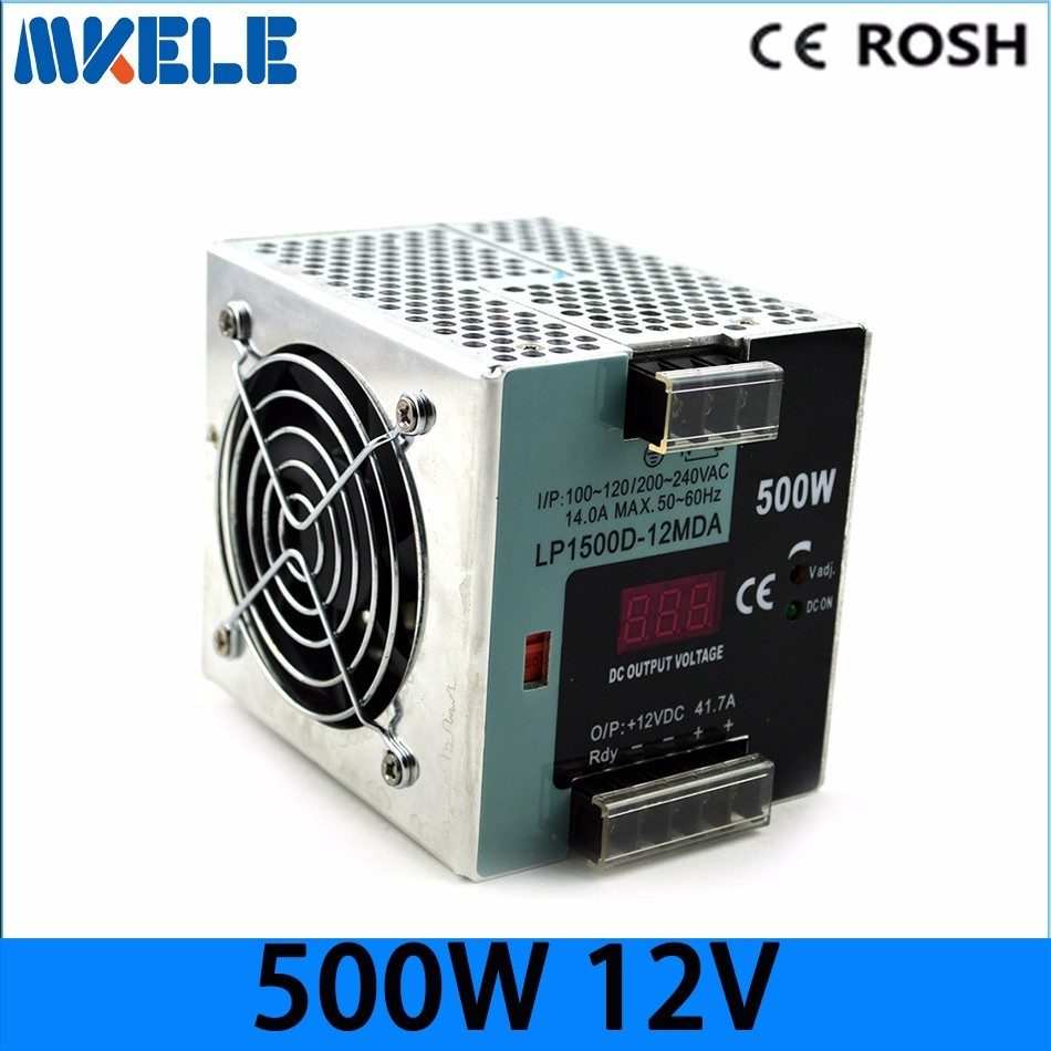 Free Shipping high watts 500w din rail small size with digital monitor voltage switcing power supply LP-500W-12 37.5a 12vdc 48v 500w din rail switch power without the function of measuring lp 500 48