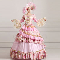 Customized 2018 Light Pink V Neck Long Flare Sleeve Marie Antoinette Masquerade Party Dress Halloween Stage Ball Gowns Costume
