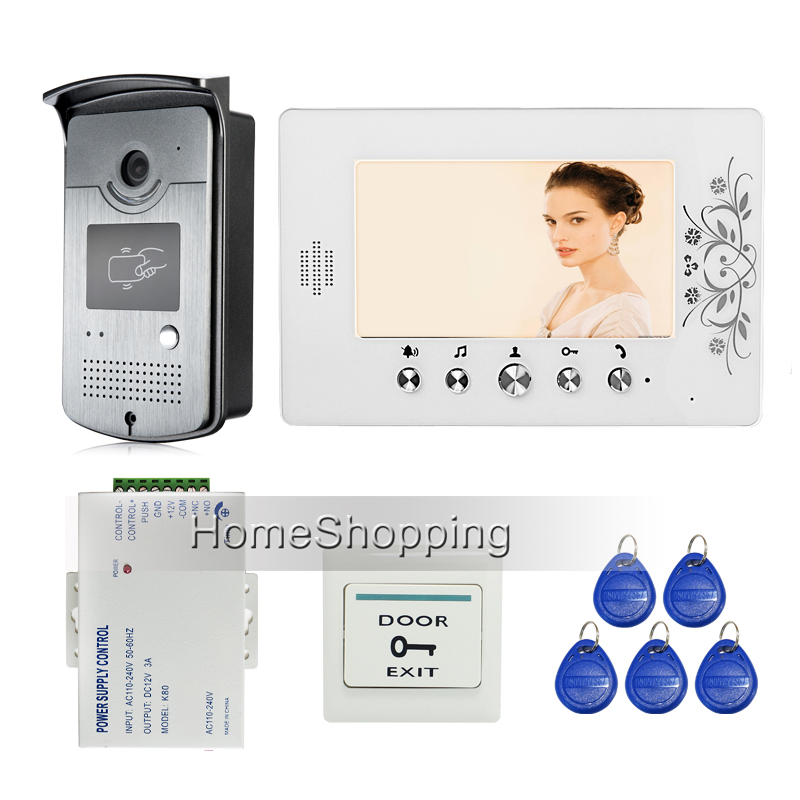 Home Security New 7 Color Video Door Phone Intercom System + RFID Access Doorbell Camera + White Monitor + Power FREE SHIPPING new 7 inch color video door phone bell doorbell intercom camera monitor night vision home security access control