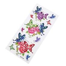 Разноцветные наклейки, татуировки, бабочки, водонепроницаемые женские очаровательные наклейки на руку с цветами вечерние наклейки на грудь