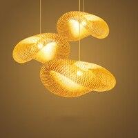 Винтаж Bamboo светодиодный плетеная из ротанга волна тени подвесные светильники Винтаж японский лампы Подвеска домашние обеденный стол Avize