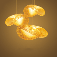 Vintage Bamboo LED Wicker Rattan Wave Shade Pendant Lights Vintage Japanese Lamps Suspension Home Indoor Dining Table Room Avize